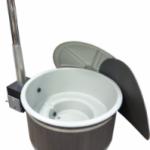 Grå badtunna av plast Harmony med Grafit grå ytterpanel & Side-Maxi vedkamin
