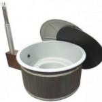 Grå badtunna av plast Harmony med Graphite ytterpanel & Side-Easy vedkamin