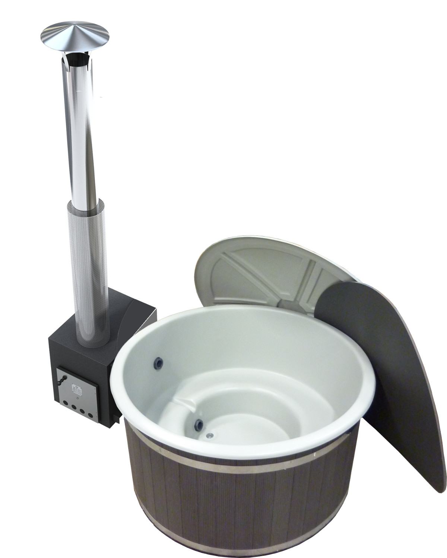 Inredning badtunna plast vedeldad : Badtunna av plast med extern vedkamin